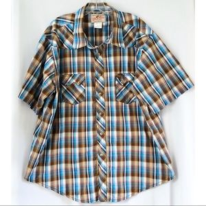 Wrangler Cowboy Blue Tan Pearl Snap Shirt XXL